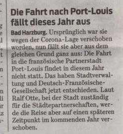 27.06.2020, Goslarsche Zeitung, Absage der Fahrt nach Port Louis