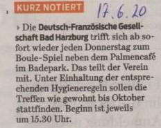 17.6.2020, Goslarsche Zeitung, Boule Veranstaltungen