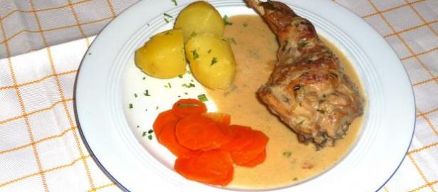 Lapin à la moutarde (Kaninchen in Senfsauce), Rezept aus der Bretagne
